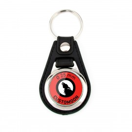 Circular Synthetic Leather Keychain